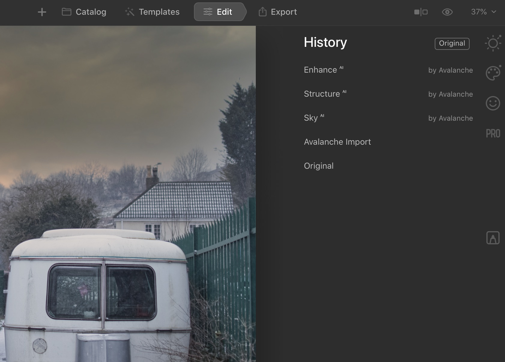 Avalanche migrates all the edits when converting of the photo catalog