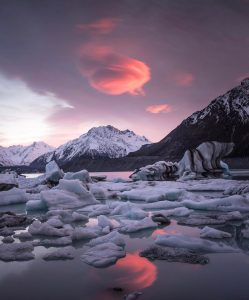 a sunset under the ice