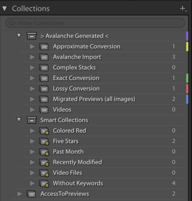 Previews appear as a collection in Lightroom